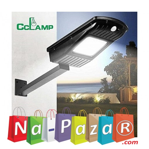 Градинска стенна LED лампа с 2 сензора CCLamp CL-110, Светлинен датчик, Датчик за движение, Соларен панел