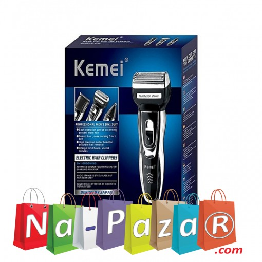 Луксозна машинка - тример 3в1 за подстригване - брада, тяло, глава и нос Kemei KM-6776-1120