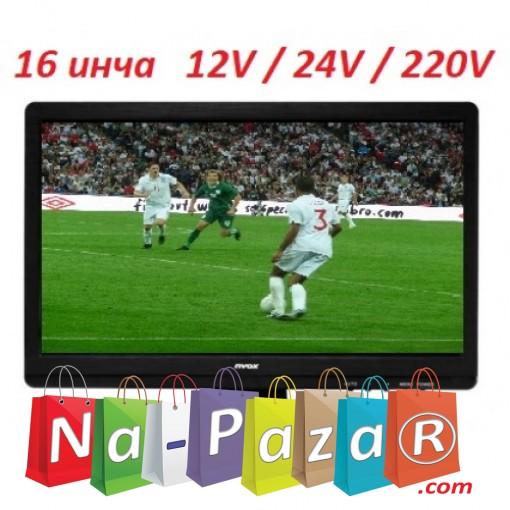 16 портативен телевизор Nvox TV16, 16 инча, 12/24/220V, Цифров тунер DVB-T2, Мултимедия