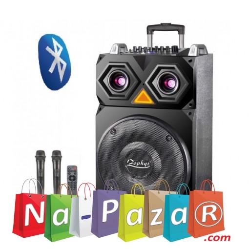 15 Тонколона за Караоке Zephyr Z-9999-F15 с вграден акумулатор, Bluetooth, МП3 плейър, 2 бр. безжични микрофона