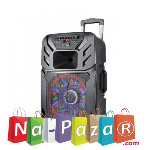 12 Тонколона за Караоке Zephyr Z-9999-A12 с вграден акумулатор, Bluetooth, МП3 плейър, 2 бр. безжични микрофона