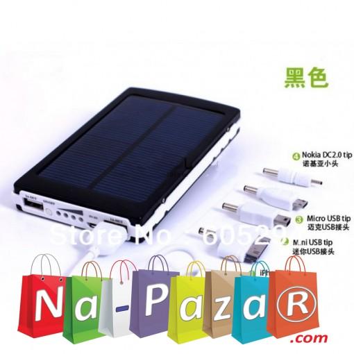 Външна мобилна акумулаторна батерия със Соларен панел Power Bank 16000 mah