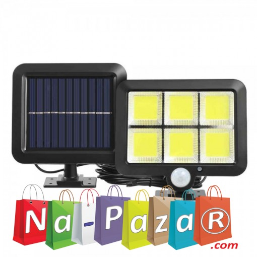 Лампа с отделен соларен панел и 120 COB LED диода с 3 режима - сензор за движение и фотоклетка