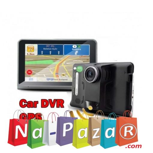 Android GPS навигация 7 за кола и камион с Вграден Видеорегистратор и Радар Детектор Vivas Android 7057Cam, EU, BT, AVIn, WiFi