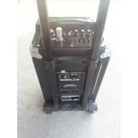 Тонколона с вграден акумулатор, МП3 плейър от SD карта, флашка, Блутут и безжичен микрофон за караоке MBA Q8B