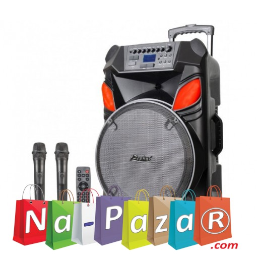 12 Тонколона за Караоке Zephyr Z-9999-B12 с вграден акумулатор, Bluetooth, МП3 плейър, 2 бр. безжични микрофона