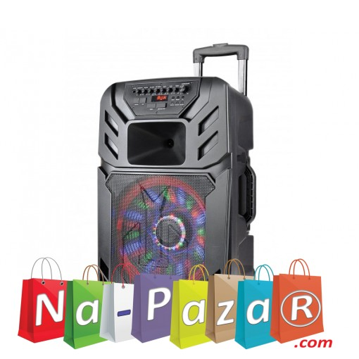 15 Тонколона за Караоке Zephyr Z-9999-A15 с вграден акумулатор, Bluetooth, МП3 плейър, 2 бр. безжични микрофона