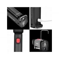 Мощна работна и аварийна лампа с фенер, магнит и кука, micro USB