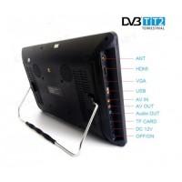 12 портативен телевизор Vivas TV12, 12 инча, 12/220V, Цифров тунер DVB-T2, Мултимедия, Акумулаторна батерия